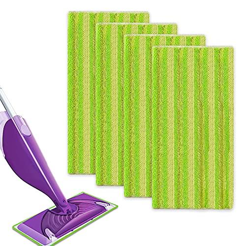 4 Remplacement Lingettes Reutilisable pour Swiffer WetJet Spray Balais Lavables en Microfibre pour le Nettoyage des Sols (Vert (4pcs))