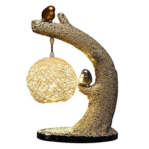 Lámparas de noche Chino dormitorio lámpara de mesa lámpara de mesa de noche retro del ojo de la lámpara del arte del pájaro Zen Zen Lámpara de lectura Estudio Lámpara de mesa de noche (Size : S)