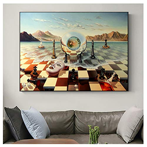 wzgsffs Salvador Dali Surrealism Chess Mask On Sea Canvas Prints Painting On Wall Art Abstract Weird Posters Picture Decor -60x80cm-no Frame