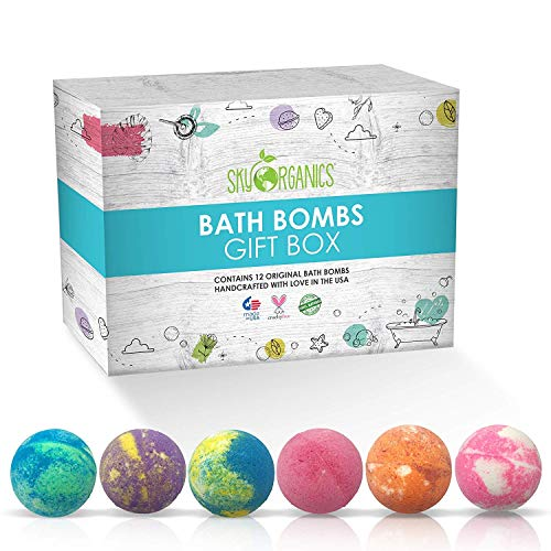 Sky Organics Large Bath Bombs Gift Set Assorted Scents Bath Bomb Kit Best for Moisturizing Relaxation Aromatherapy with Natural Essential Oils Sulfate Free Vegan Gluten Free Made in USA, 12ct