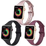 Yisica 3 Pack Compatible con Apple Watch Correa 38mm 40mm 42mm 44mm, Pulsera de Repuesto Fina Estrecha y Suave Silicona para iWatch Series 6 5 4 3 2 1 SE (38mm/40mm S/M Negro+Vino Rojo+Oro Rosa)