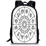 Hui-Shop Mochilas Escolares Astrología, círculo Zodiacal incompleto con Signos de astrología Aries Acuario Piscis León Arte, Blanco y Negro para niños niñas