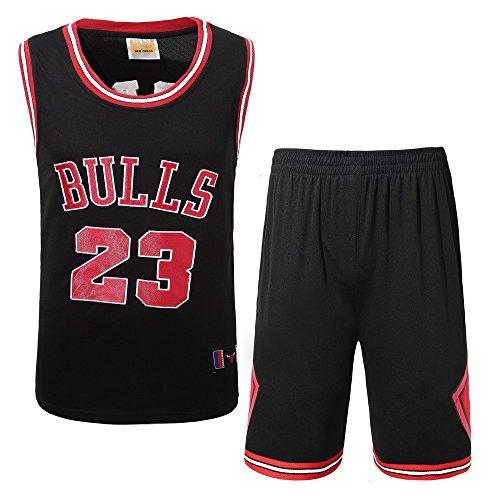 DEBND Herren Basketball Jersey NBA Michael Jordan # 23 Chicago Bulls Classic Stickerei ärmelloses Top & Shorts