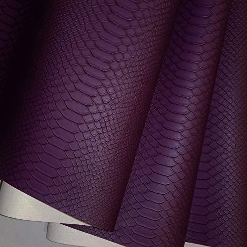 12 cols - Tela de piel sintética con textura de piel de serpiente (PVC, 50 x 137 cm), color morado