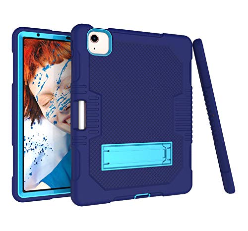 GoYi Case iPad Air 4th Generation (iPad Air 10.9 Inch 2020), 360° Shockproof Anti-scratch Cover/PC + Silicone 3-In-1/Heavy Duty Tough Aromr/Kickstand for iPad Air 4th Generation 10.9' 2020-Blue/Blue