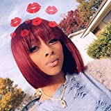 Short Colored Bob Wig with Bangs Glueless Machine Made Human Hair Wigs Brazilian Straight Remy Hair None Lace Front Wigs for Women Free Part Wine Red (10 Inch )