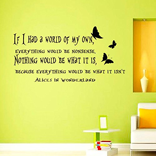 Wall Decals Vinyl Sticker If i Had a World of my Own Sayings Quote Alice in Wonderland Quotes Kitchen Nursery Baby Kids Children Room Decal Home Decor Murals Bedroom Studio Dorm by DecorimDecorWallDecal