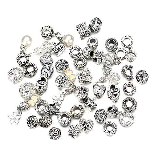 BIGBOBA 50 unids Mujeres DIY joyería Colgante Rhinestone Beads Pandora Pulsera Accesorio Collar Ornamento (Blanco)