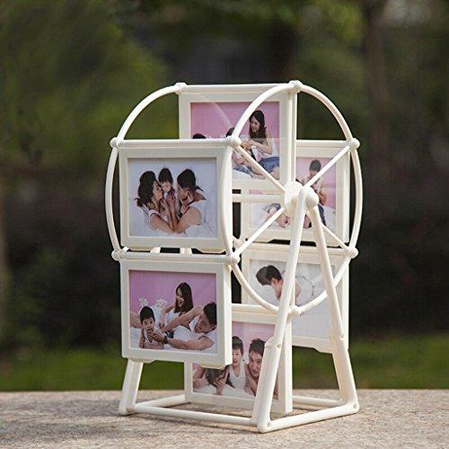 Individualidad Marco de fotos de regalo de San Valentín, marco de fotos de álbum Caja de 5 pulgadas y 12 unidades, regalos de marco giratorio de fotos de molino de viento creativo, blanco Regalo Cre