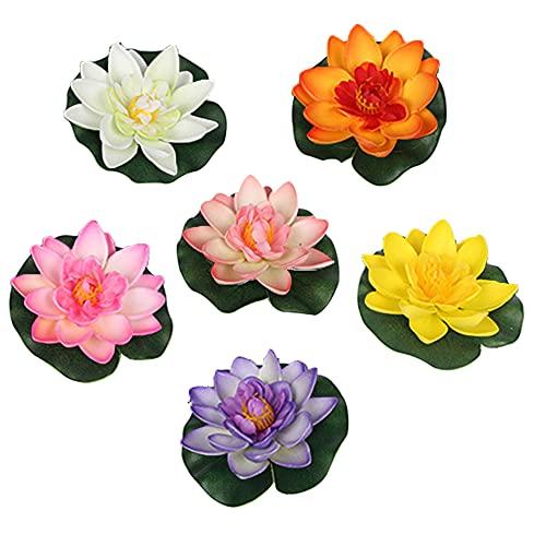 Kaimeilai Lirio de agua artificial, Flor de loto de espuma, 8 piezas de planta de lirio de agua, decoración de flor de lirio de agua de espuma, loto de lirio color artificial, Decoración de piscina