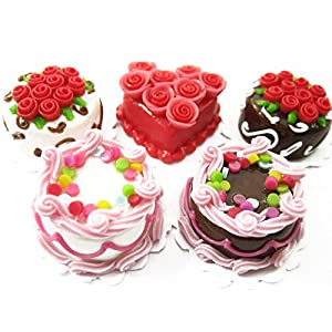 dollhouse miniatures food mixed 5 rose flower cake 20mm supply cakes 13382
