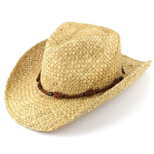Sombrero de vaquero de paja natural con banda de madera marrón natura