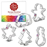 Ann Clark Cookie Cutters 5-Piece Winter Christmas Cookie Cutter Set with Recipe Booklet, Snowflake,...