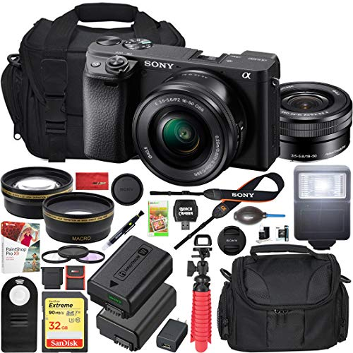 Sony a6400 4K Mirrorless Camera ILCE-6400L B (Black) with 16-50mm f 3.5-5.6 Lens Kit and 0.43x Wide Angle Lens + 2.2X Telephoto Lens + Deco Gear Extra Battery Gadget Bag Remote & Flash Bundle