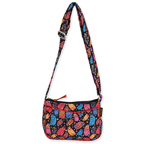 "MATERIAL: Made from beautiful Laurel Burch artwork printed quilted cotton fabric. Zip top closure. Silver tone hardware. SIZE: 8.5 x 7 x 2.5 inches. Adjustable shoulder strap. Strap drop: approx. 12"" (Shortest), 24"" (Longest). Can be a shoulder bag o..."