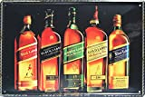 Johnnie Walker, Whiskey Metal Tin Sign, Vintage Style Wall Ornament Coffee & Bar Decor, Size 8' X 12'