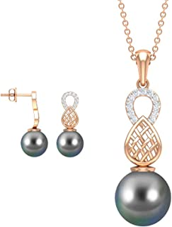 16.69 CTPearl and Diamond Necklace and Earring Set, Diamond Charm Pendant, Black Tahitian Pearl Jewelry, Gold Engraved Nec...