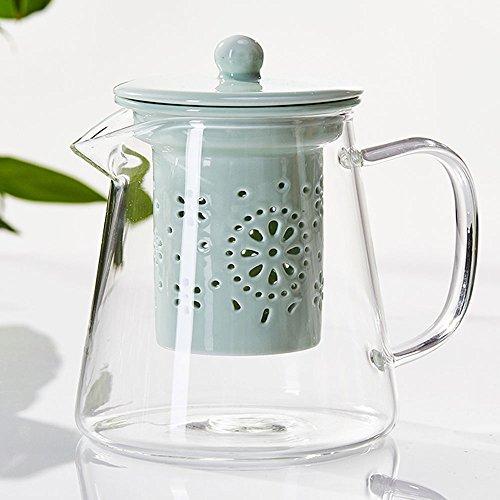 TAMUME 500ml Teiera in Vetro da con Filtro per Teiera in Porcellana (Green)