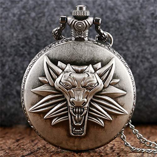 KKDS Clásico Antiguo Gris/Bronce diseño de Lobo Collar de Cuarzo Reloj de Bolsillo Relojes Colgantes de Recuerdo Unisex Fob Reloj para el cumpleaños del día del Padre (Color : White)