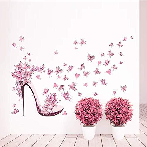 ylckady Voler Chaussures À Talons Hauts Papillon Fleurs Arbre Fille Fille Enfants Chambre Décor À La Maison PVC Autocollants Home Art Mural Decal