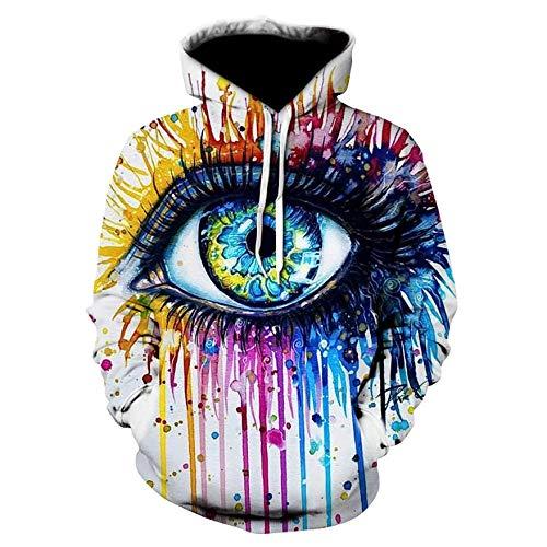 ASHGNV Ojos coloreados Impresión Digital 3D Sudadera con Capucha Unisex HD Pullover Sudadera Ligera Conjunto de Pareja de bolsillo-2XL