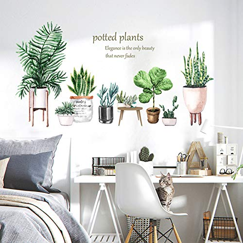 Qingbay Green Potted Plant Wall Decal Tropical Leaf Sansevieria Bonsai Wall Sticker for Offices Home Decor (Potted Plant)