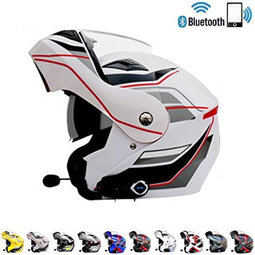 Casco Moto modulare Motocross Cross Helmet Casco Moto Bluetooth Integrato - Connetti Navigazione/Telefono/Musica,T9,L(59~60) CM