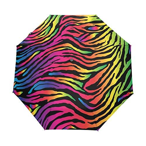 QMIN Paraguas plegable automático con estampado de piel de cebra, resistente al viento, protección UV, para viajes, compacto, para mujeres, hombres, niñas