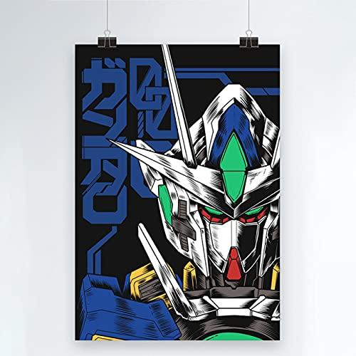 Yiwuyishi Impresión de Lienzo Gundam Warrior Poster Decoración del hogar Mecha Pintura Imagen de Arte de Pared Papel de Anime japonés para Sala de Estar 50x70cm P-1040
