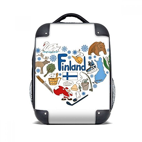 DIYthinker Finnland Love Heart Landscap Nationalflagge Hard Case Schulter Kind-Rucksack-Geschenk 15