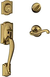 Camelot Single Cylinder Handleset and Left Hand Flair Lever, Antique Brass (F60 CAM 609 FLA LH)