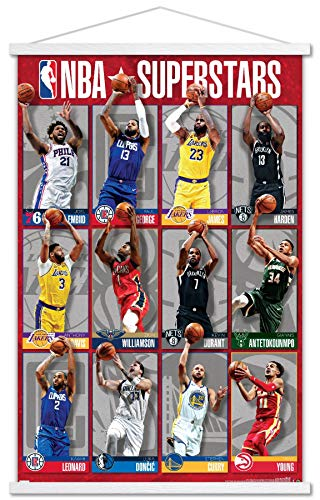 Trends International NBA League - Superstars 2020 Wall Poster with Magnetic Frame, 22.375' x 34', Premium Print and White Hanger Bundle