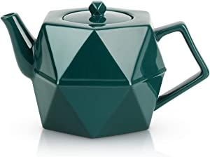 Toptier Diamond Teapot, Porcelain Teapot with Stainless Steel Infuser, Blooming & Loose Leaf Ceramic Teapot, 34 Ounce (1000 ml) - Green Diamond
