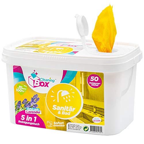 CleaningBox® 5-in-1 Kompostierbare WetCleanWipes Feuchte Reinigungstücher Bad & Sanitär, 50x Biologisch Abbaubare Feuchttücher mit Duft Lavendel, Gelb 30x30 cm - Made in Germany