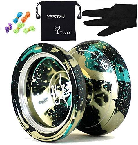 MAGICYOYO Pro Yoyós M002 April No Responsive Yo-yos Metal Yo Yo Kit para niños Adultos Juguete de Regalo Negro y Verde y Oro