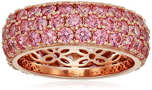 Juego de anillos chapados en platino o oro con 3 filas de corte redondo con circonitas de Swarovski,Chapado en oro rosa con piedras rosas,Size 6