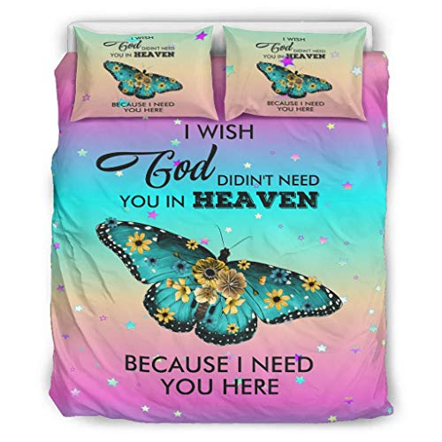 Dofeely I Wish God Didin't Need You In Heaven Because I Need You Here Chic Design Bed Set Bettbezug Set Super Soft Breathable Einzelbett Bettwäsche Sets für Kinder 100% Polyester White 229x229cm