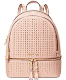 MICHAEL Michael Kors Women's Leather Signature Rhea Zip Medium Backpack Handbag (Soft Pink/Gold)