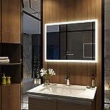 Meykoers Wandspiegel Badezimmerspiegel LED Badspiegel mit Beleuchtung 80x60cm mit Touch-Schalter,...