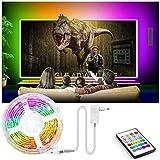 【TV LED Strip 17ft】 Ultra-Long TV Led streifen werden mit 4096 DIY-Farben, 16 Helligkeitsstufen und 6 dynamischen Blinkmodi geliefert, die jede Seite Ihres Fernsehgeräts perfekt beleuchten können. 【Mehrfachanwendung】 Der TV LED Licht werden Highlight...