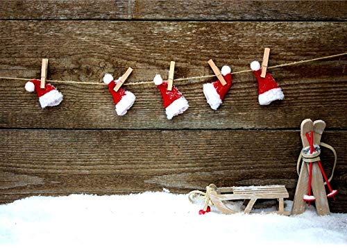Fondo Fotografia Sombrero de Navidad de Madera 5x7FT(1.5mx2.1m)para Portrait Fotógrafos Estudio Foto Fondo Prop Video Televisión Photocall