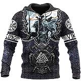 BBYaki Wikinger 3D Pullover Odin Tattoo Norse Mythology Sweatshirt Langarm Fall Men Casual Tops Street Mit Großen Taschen XS-7XL,Hoodie,XL