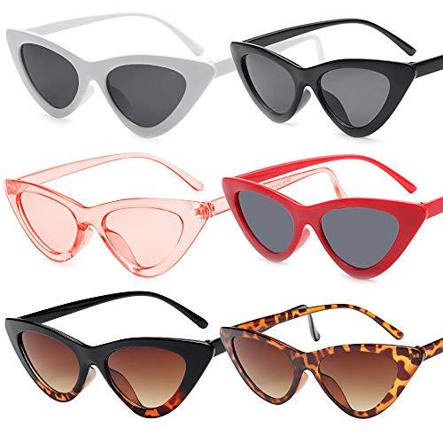 VINFUTUR 6 Stücke Katzenaugen Brille Vintage Schmale Cat Eye Glasses Retro Dreieckige Brille Unisex Brille für Kostümpartys Karneval