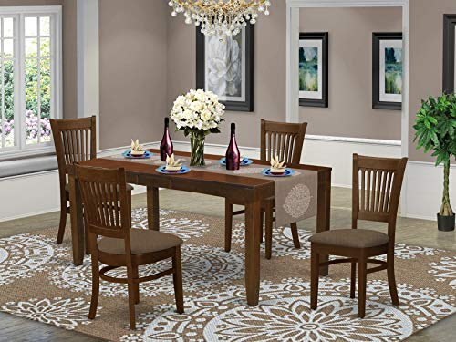 East West Furniture LYVA5-ESP-C 5-Piece Dining Set – Rectangular Top Dining Table – 4 Dining Room Chairs Slatted Back and Linen Fabric Seat (Espresso Finish)