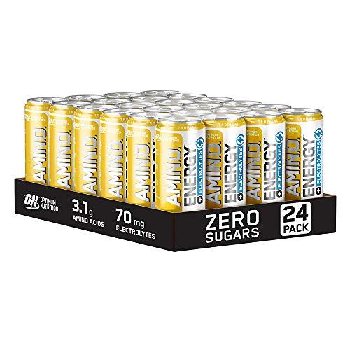 Optimum Nutrition Essential Amino Energy + Electrolytes, EAA Boisson Energisante sans Sucre avec Électrolytes et Caféine, Saveur Tropicale, Boîte de 24 (24 x 250 ml)