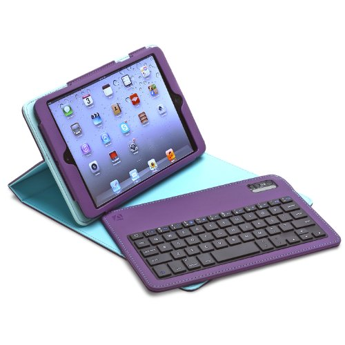 Aduro 4.5165G FACIO Case with Bluetooth Removable Keyboard for Apple iPad Mini (Purple/Turquoise)
