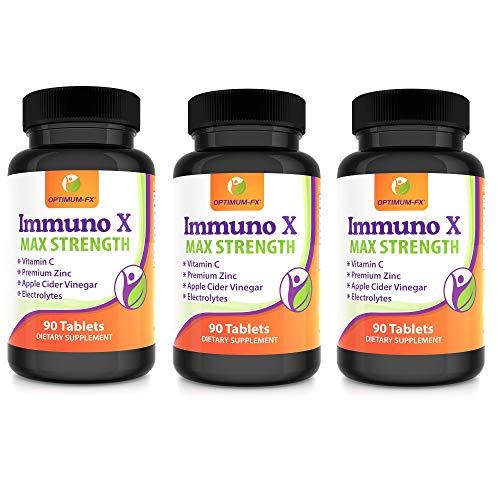 Immuno X Tablets - Pills Not Capsules Vitamin C, Zinc Bisglycinate, Apple Cider Vinegar and Electrolyte Blend: Sodium, Potassium, Calcium, Magnesium 90 Tablets