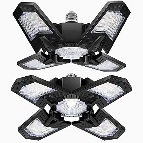 LED Garagenleuchte 120W, YIQIBRO 2Pack 12000 Lumen LED Deckenspots Deckenleuchte GaragenLicht mit 4 Verstellbaren Paneelen 6000-6500K, Schwarz