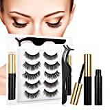 Magnetic Eyelashes and Eyeliner Kit, Magnetic Eyelashes Pack, Reusable 3D Magnetic lashes, False Eye Lash Set, False Eyelashes Natural Look No Glue Needed (5 Pairs)