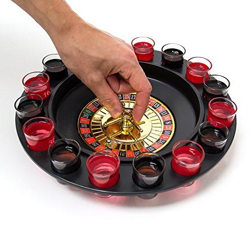 Relaxdays Roulette Trinkspiel, Partyspiel mit Drehrad, Schnapsgläsern & Kugeln, Roulettespiel für Partys, rot/schwarz - 4